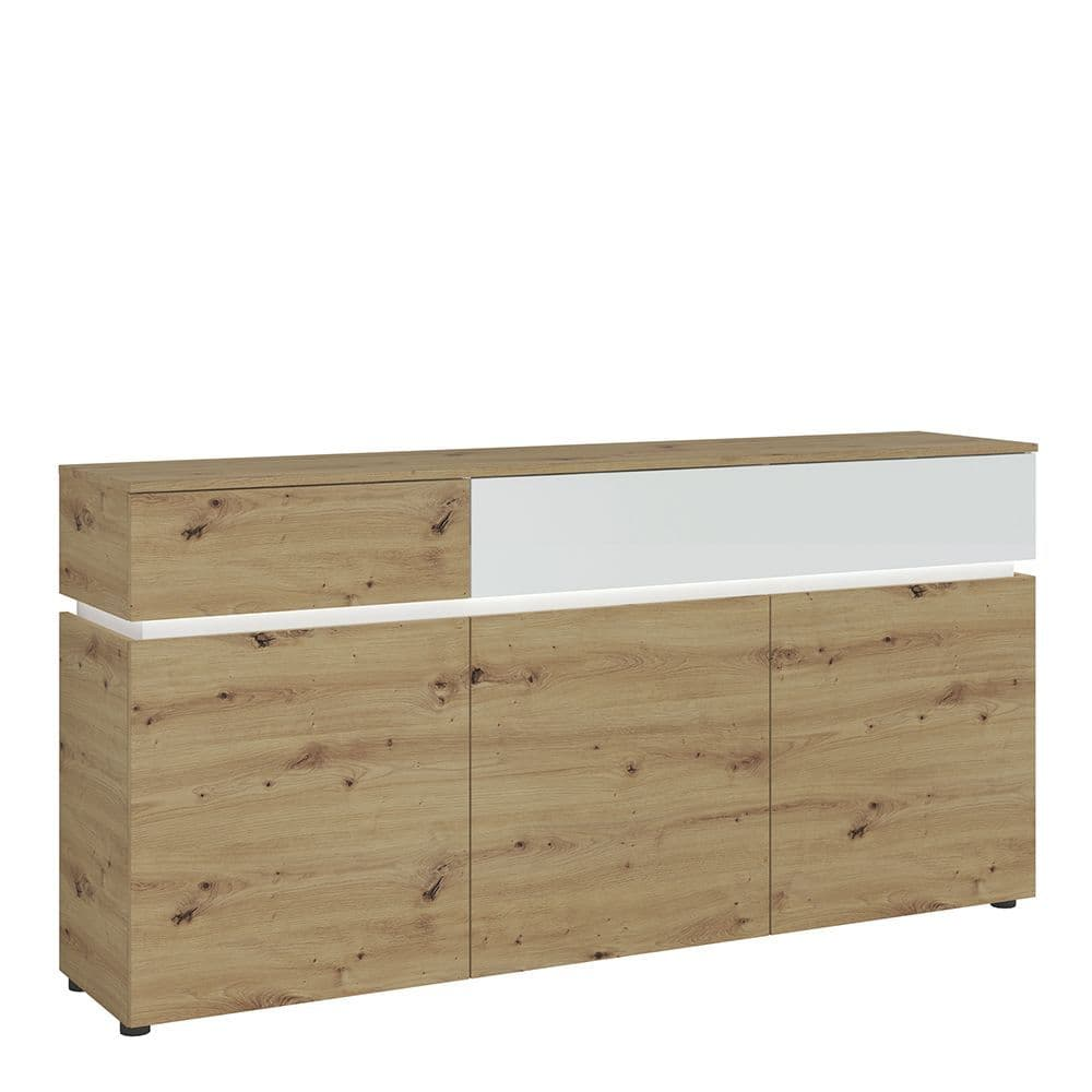 Nirvana Bright 3 door 2 drawer sideboard (including LED lighting) in White and Oak